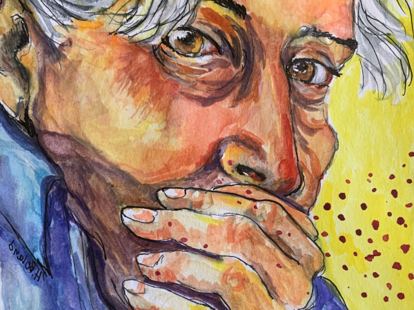 Watercolor of a person covering their mouth and coughing