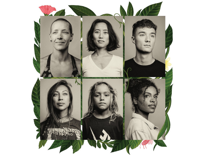 Six photographic portraits arranged in a grid, overlaid on an illustration of pink flowers and green leaves